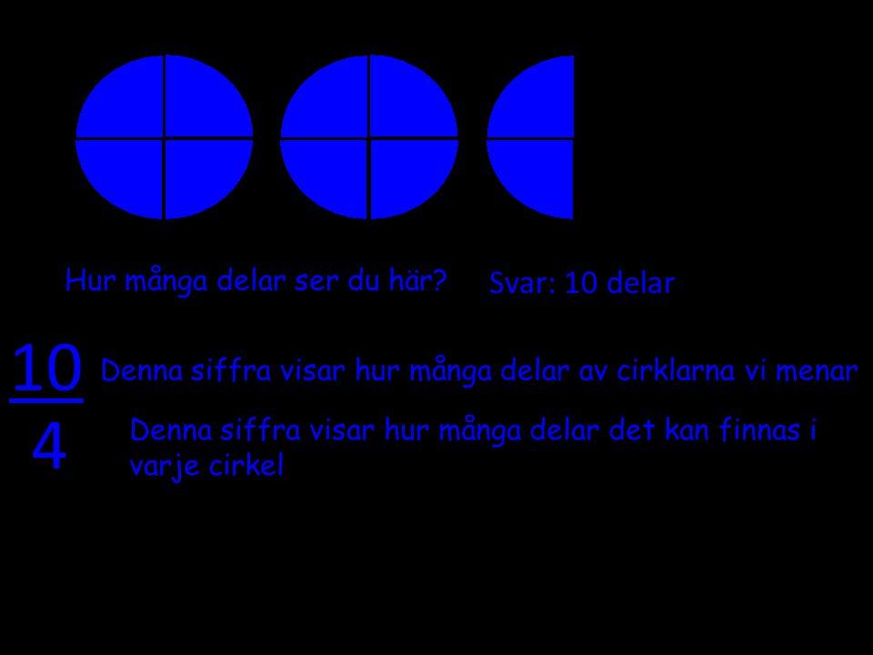 Hur många delar ser du här? Svar: 10 delar 10 4 Denna siffra visar hur många delar av cirklarna vi menar Denna siffra visar hur många delar det kan fi