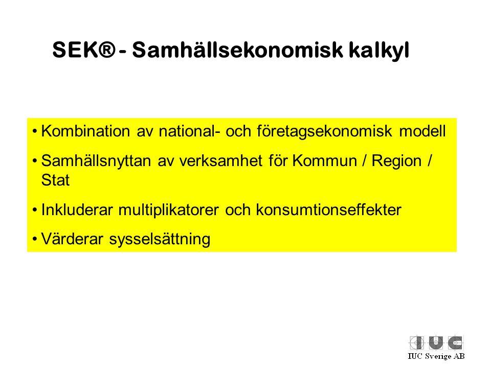 SEK® - Samhällsekonomisk kalkyl •Kombination av national- och företagsekonomisk modell •Samhällsnyttan av verksamhet för Kommun / Region / Stat •Inklu