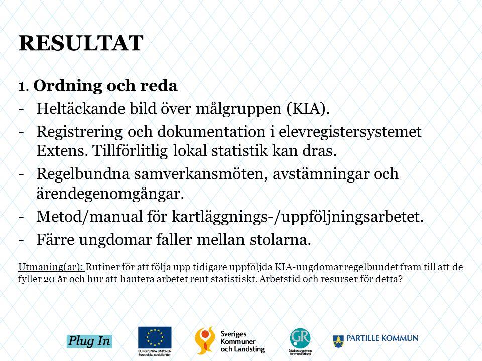 RESULTAT 1. Ordning och reda -Heltäckande bild över målgruppen (KIA). -Registrering och dokumentation i elevregistersystemet Extens. Tillförlitlig lok