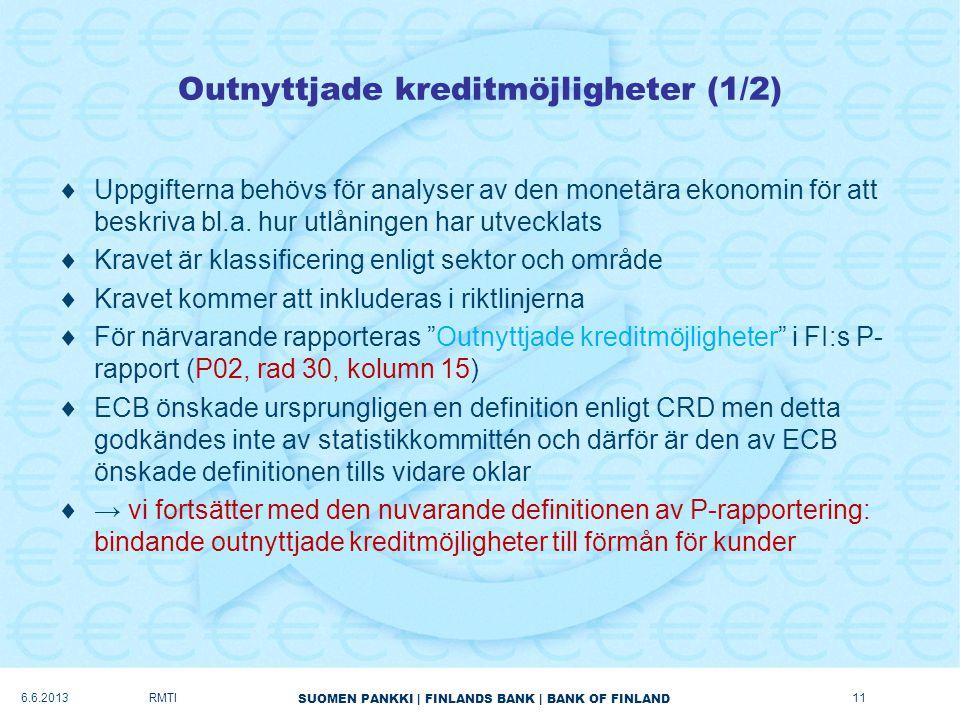 SUOMEN PANKKI | FINLANDS BANK | BANK OF FINLAND Outnyttjade kreditmöjligheter (1/2)  Uppgifterna behövs för analyser av den monetära ekonomin för att