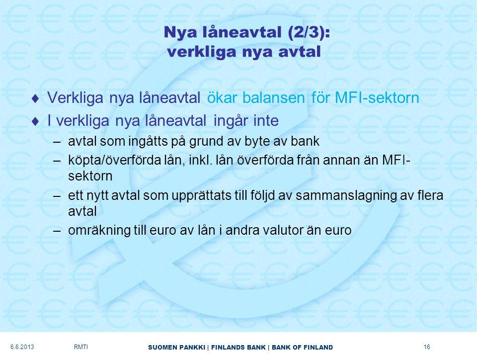 SUOMEN PANKKI   FINLANDS BANK   BANK OF FINLAND Nya låneavtal (2/3): verkliga nya avtal  Verkliga nya låneavtal ökar balansen för MFI-sektorn  I verkliga nya låneavtal ingår inte –avtal som ingåtts på grund av byte av bank –köpta/överförda lån, inkl.