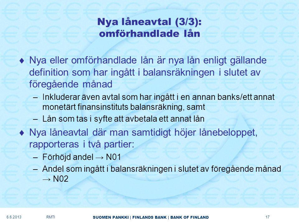 SUOMEN PANKKI   FINLANDS BANK   BANK OF FINLAND Nya låneavtal (3/3): omförhandlade lån  Nya eller omförhandlade lån är nya lån enligt gällande definition som har ingått i balansräkningen i slutet av föregående månad –Inkluderar även avtal som har ingått i en annan banks/ett annat monetärt finansinstituts balansräkning, samt –Lån som tas i syfte att avbetala ett annat lån  Nya låneavtal där man samtidigt höjer lånebeloppet, rapporteras i två partier: –Förhöjd andel → N01 –Andel som ingått i balansräkningen i slutet av föregående månad → N02 6.6.2013RMTI17