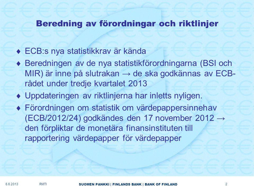 SUOMEN PANKKI   FINLANDS BANK   BANK OF FINLAND Beredning av förordningar och riktlinjer  ECB:s nya statistikkrav är kända  Beredningen av de nya statistikförordningarna (BSI och MIR) är inne på slutrakan → de ska godkännas av ECB- rådet under tredje kvartalet 2013  Uppdateringen av riktlinjerna har inletts nyligen.