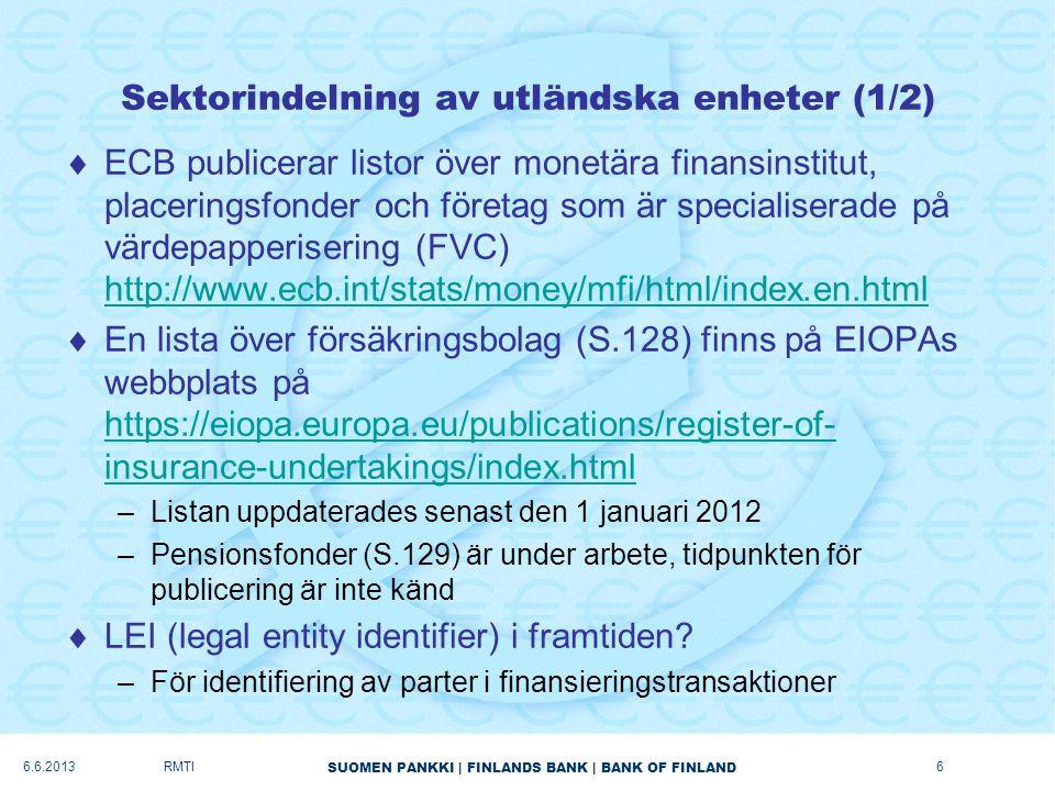 SUOMEN PANKKI   FINLANDS BANK   BANK OF FINLAND Sektorindelning av utländska enheter (1/2)  ECB publicerar listor över monetära finansinstitut, placeringsfonder och företag som är specialiserade på värdepapperisering (FVC) http://www.ecb.int/stats/money/mfi/html/index.en.html http://www.ecb.int/stats/money/mfi/html/index.en.html  En lista över försäkringsbolag (S.128) finns på EIOPAs webbplats på https://eiopa.europa.eu/publications/register-of- insurance-undertakings/index.html https://eiopa.europa.eu/publications/register-of- insurance-undertakings/index.html –Listan uppdaterades senast den 1 januari 2012 –Pensionsfonder (S.129) är under arbete, tidpunkten för publicering är inte känd  LEI (legal entity identifier) i framtiden.