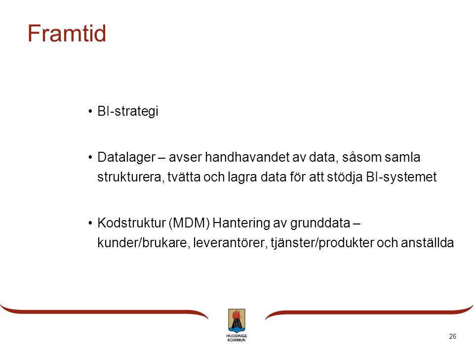 25 På gång •Redovisning och uppföljning av mål •Underlag för E-tjänster •Budget och prognos för ekonomisk uppföljning •Samlad information till använda