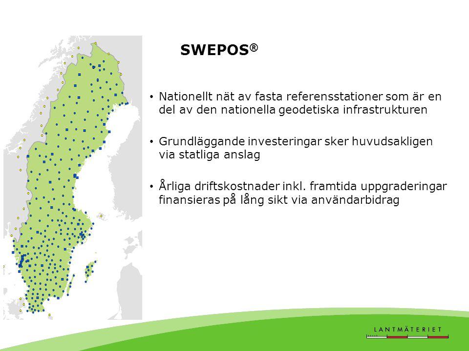 • Nationellt nät av fasta referensstationer som är en del av den nationella geodetiska infrastrukturen • Grundläggande investeringar sker huvudsaklige