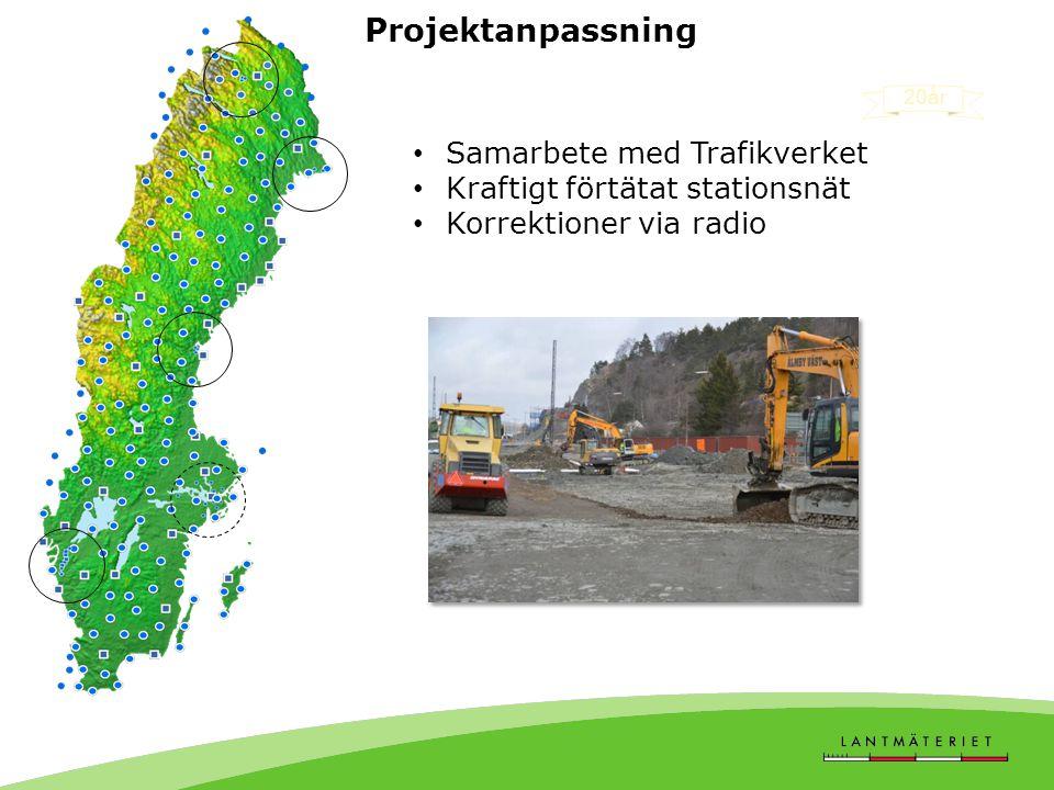 Projektanpassning • Samarbete med Trafikverket • Kraftigt förtätat stationsnät • Korrektioner via radio 20år