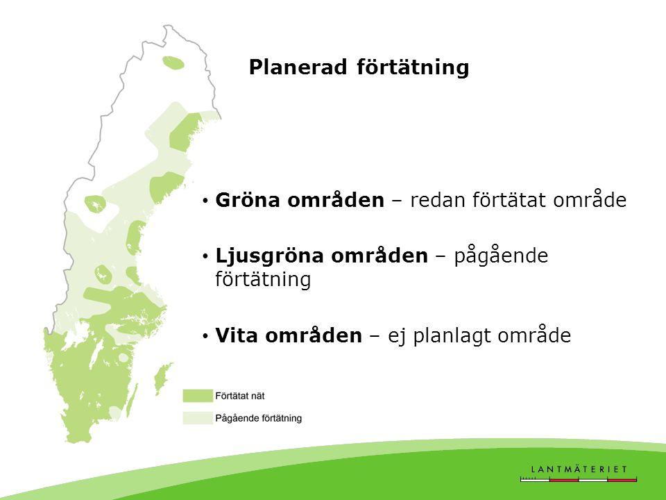Planerad förtätning • Gröna områden – redan förtätat område • Ljusgröna områden – pågående förtätning • Vita områden – ej planlagt område