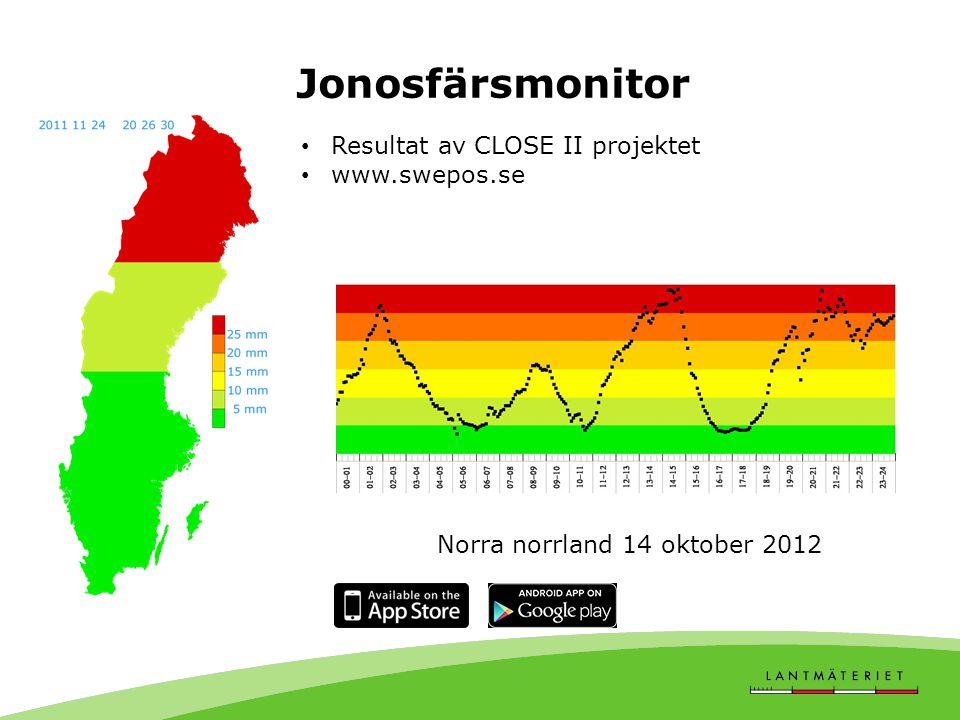 Jonosfärsmonitor • Resultat av CLOSE II projektet • www.swepos.se Norra norrland 15 oktober 2012Norra norrland 14 oktober 2012