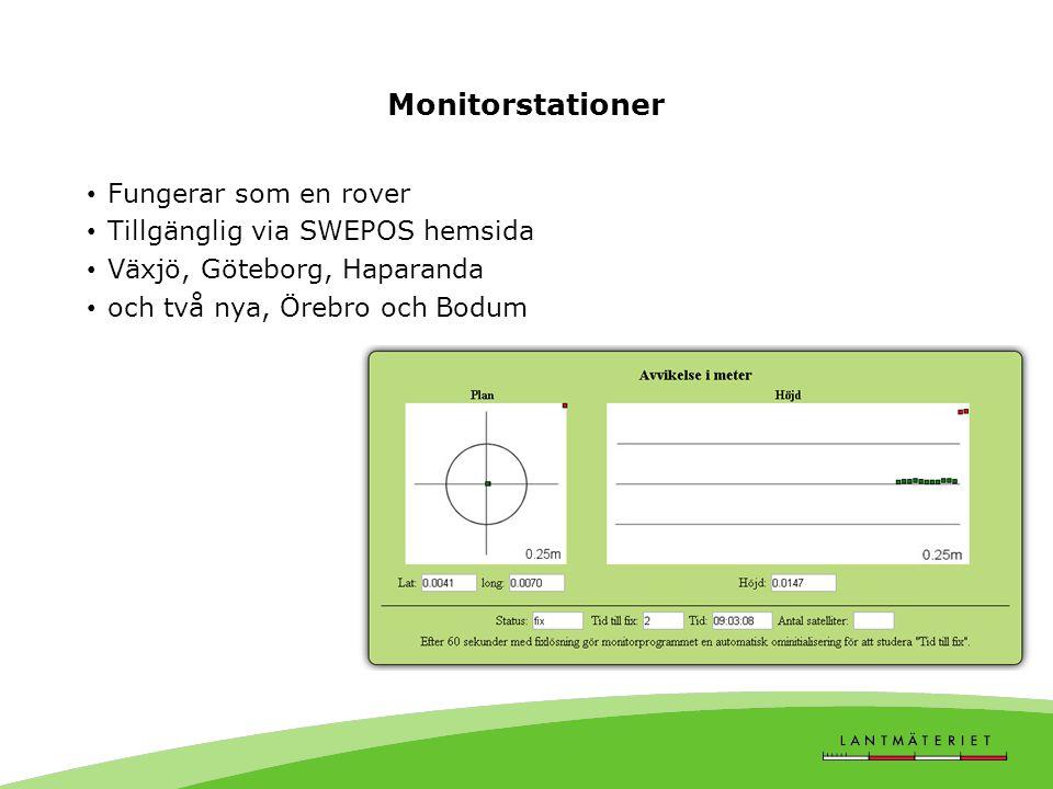 Monitorstationer • Fungerar som en rover • Tillgänglig via SWEPOS hemsida • Växjö, Göteborg, Haparanda • och två nya, Örebro och Bodum