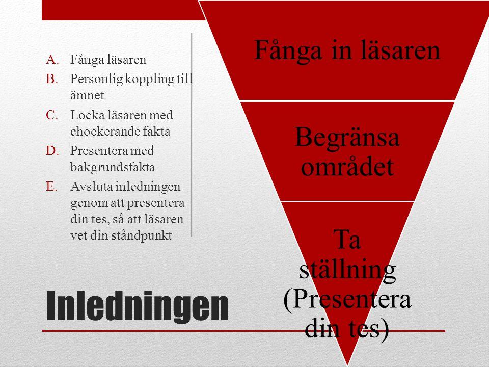 Inledningen Fånga in läsaren Begränsa området Ta ställning (Presentera din tes) A.Fånga läsaren B.Personlig koppling till ämnet C.Locka läsaren med ch