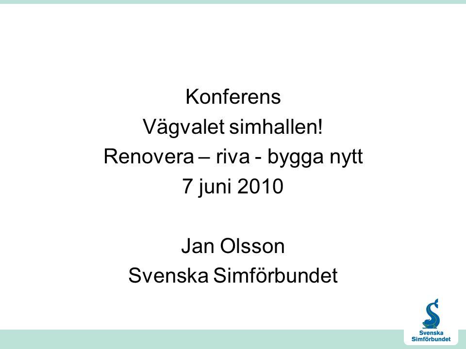 Konferens Vägvalet simhallen! Renovera – riva - bygga nytt 7 juni 2010 Jan Olsson Svenska Simförbundet