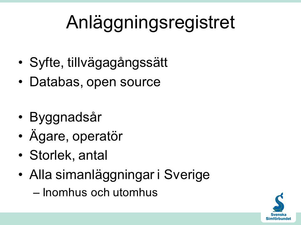 Anläggningsregistret •Syfte, tillvägagångssätt •Databas, open source •Byggnadsår •Ägare, operatör •Storlek, antal •Alla simanläggningar i Sverige –Ino