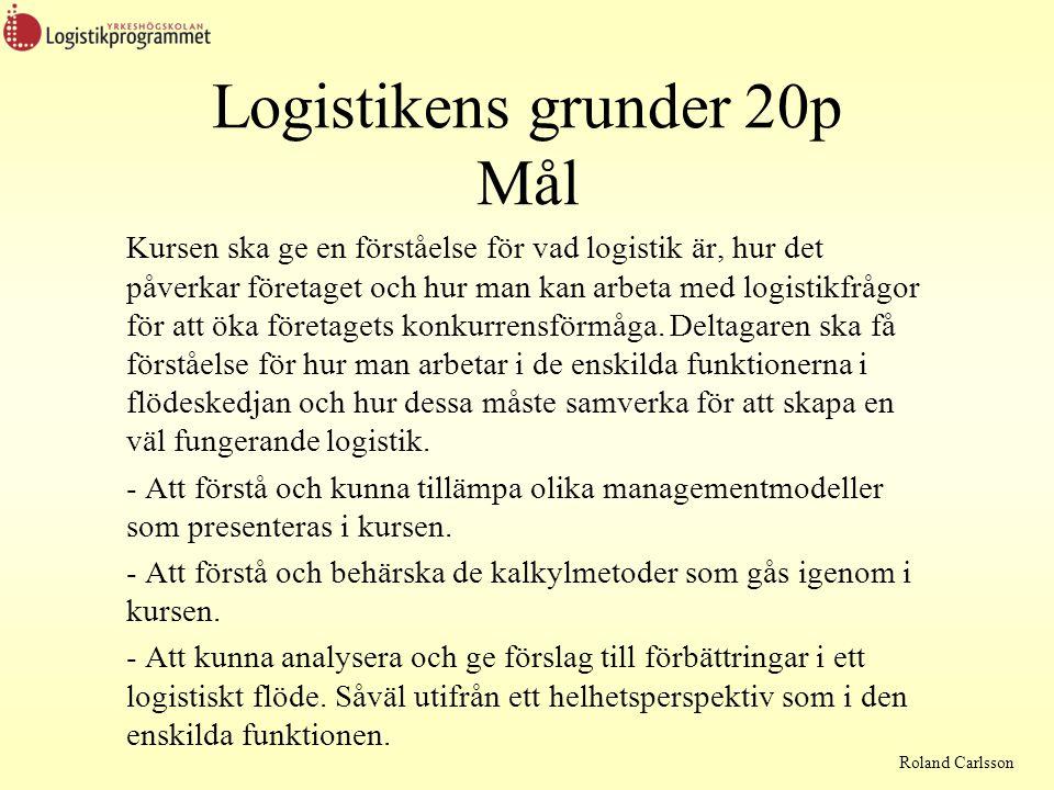 Roland Carlsson Logistikens grunder 20p Mål (forts) - Att förstå och kunna förklara olika fackuttryck och termer som används inom logistikområdet.