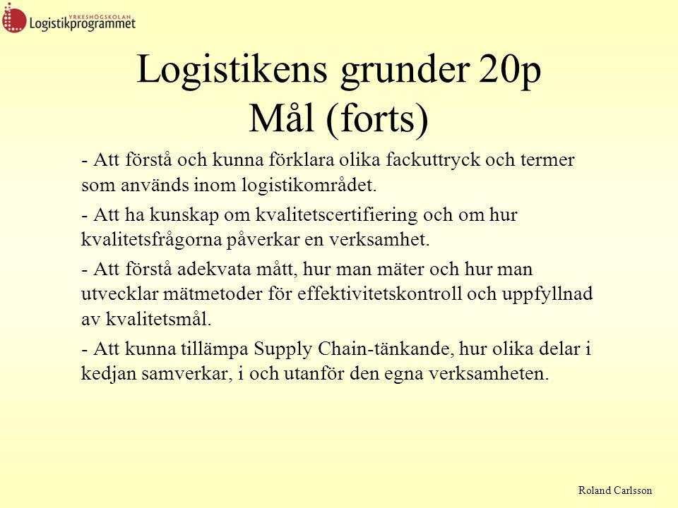 Roland Carlsson En kurs om grunderna inom logistik Vad som behövs för kursen En bok En miniräknare Penna och papper Räkne- exempel Exempelsamling PP-presentationer