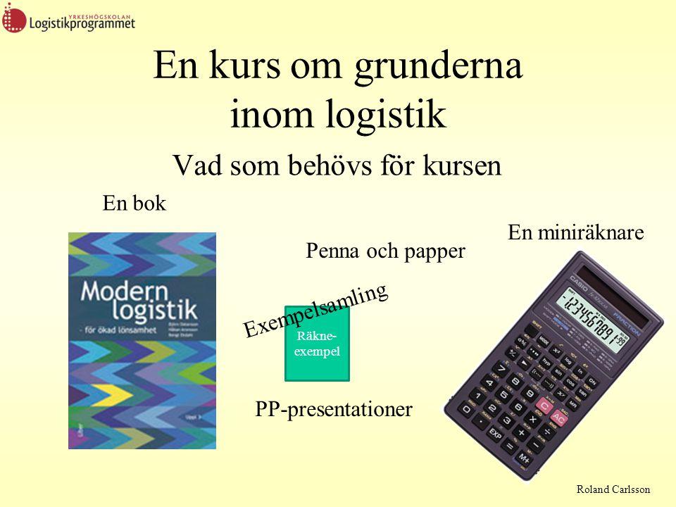 Roland Carlsson Men först lite om Logistikkostnader •Transportkostnader •Lagringskostnader •Hanteringskostnader •Administrativa kostnader •Kapitalkostnader En produkts totala kostnader består generellt till minst 50% av logistikkostnader