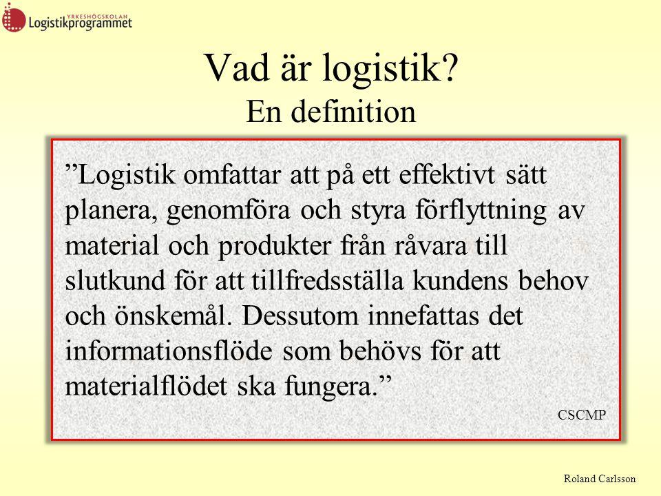 Roland Carlsson Exempel på lagringskostnader Två delar Lagerhållningskostnader  Lagerpersonal  Lagerutrustning  Lagerbyggnader (hyra eller eget)  Informationssystem  Övriga driftskostnader