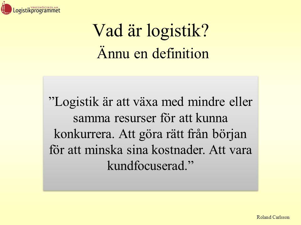 Roland Carlsson Logistikens utveckling Kostnader i focus Flexibel produktion Intäkter Konkurrens medel Supply Chain Management