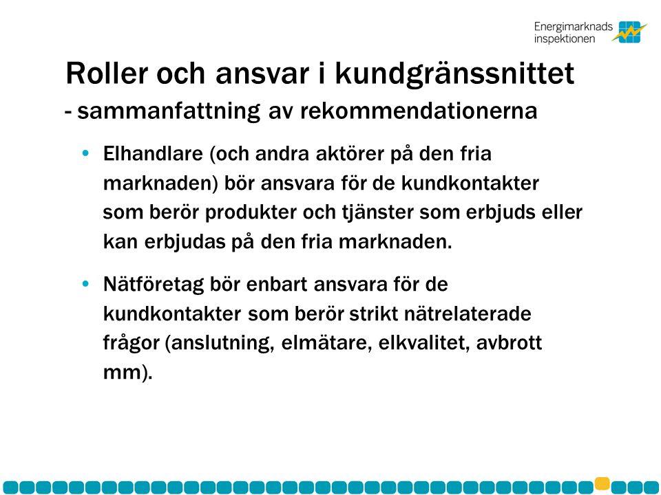 Roller och ansvar i kundgränssnittet - sammanfattning av rekommendationerna •Elhandlare (och andra aktörer på den fria marknaden) bör ansvara för de k