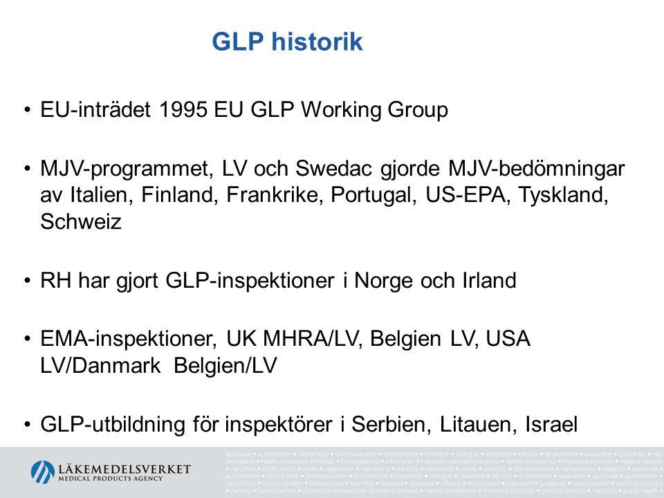 GLP historik •EU-inträdet 1995 EU GLP Working Group •MJV-programmet, LV och Swedac gjorde MJV-bedömningar av Italien, Finland, Frankrike, Portugal, US-EPA, Tyskland, Schweiz •RH har gjort GLP-inspektioner i Norge och Irland •EMA-inspektioner, UK MHRA/LV, Belgien LV, USA LV/Danmark Belgien/LV •GLP-utbildning för inspektörer i Serbien, Litauen, Israel