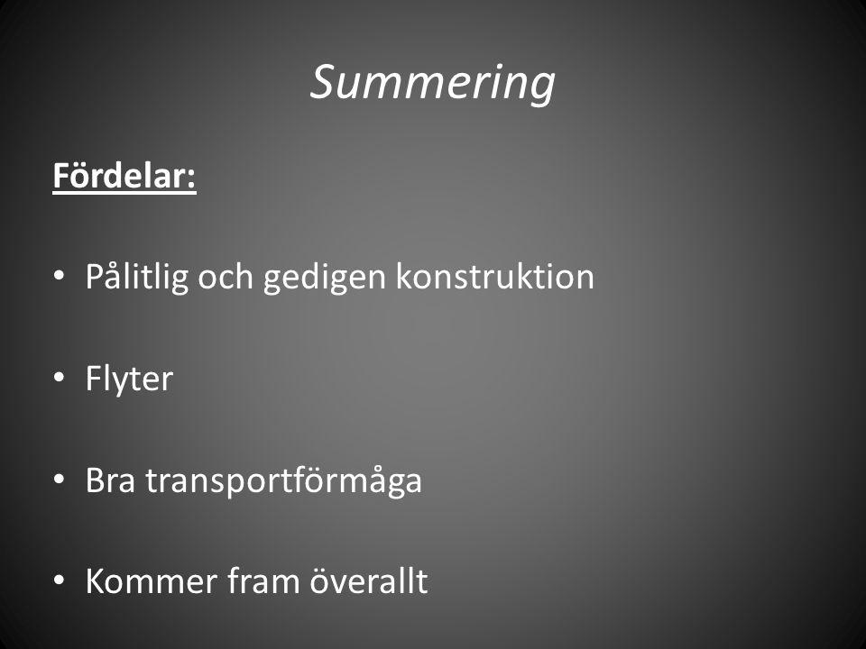 Summering Fördelar: • Pålitlig och gedigen konstruktion • Flyter • Bra transportförmåga • Kommer fram överallt