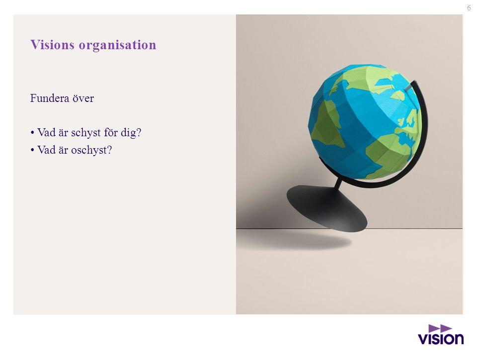 6 Visions organisation Fundera över • Vad är schyst för dig? • Vad är oschyst?