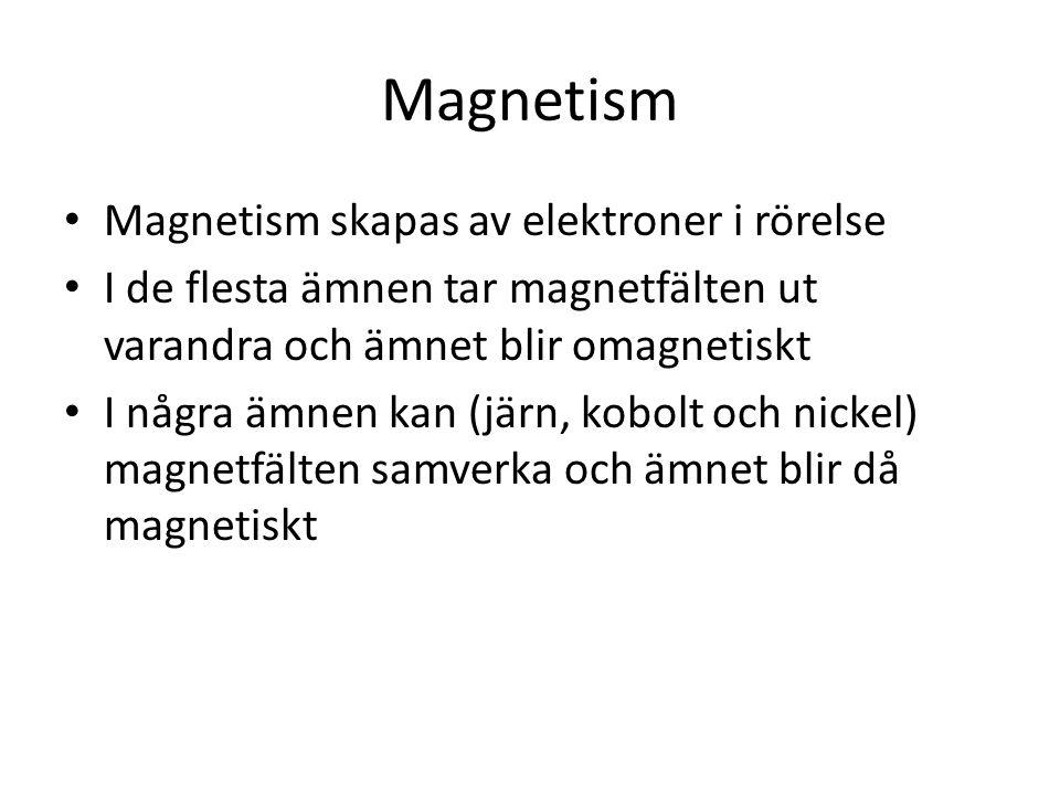 Magnetism • Magnetism skapas av elektroner i rörelse • I de flesta ämnen tar magnetfälten ut varandra och ämnet blir omagnetiskt • I några ämnen kan (järn, kobolt och nickel) magnetfälten samverka och ämnet blir då magnetiskt