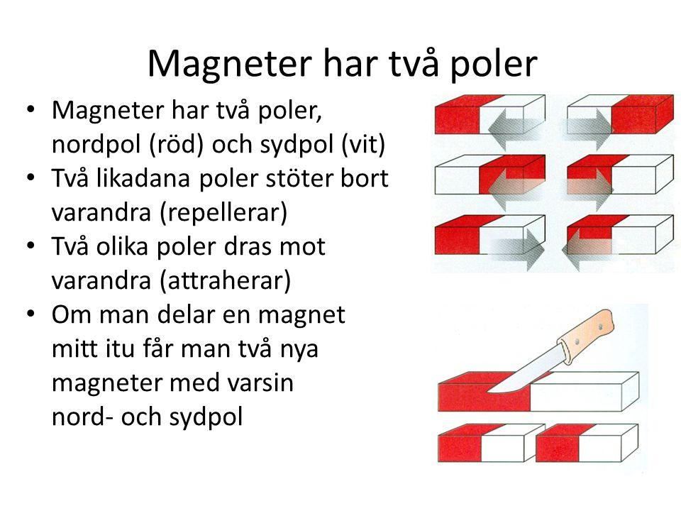 Magneter har två poler • Magneter har två poler, nordpol (röd) och sydpol (vit) • Två likadana poler stöter bort varandra (repellerar) • Två olika poler dras mot varandra (attraherar) • Om man delar en magnet mitt itu får man två nya magneter med varsin nord- och sydpol