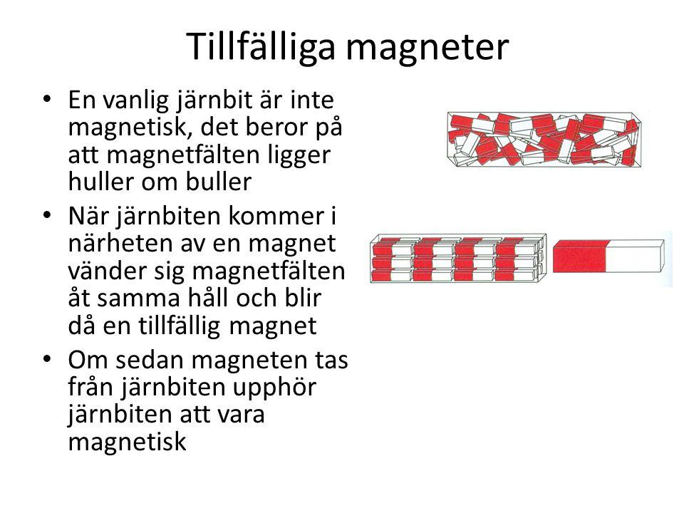 Tillfälliga magneter • En vanlig järnbit är inte magnetisk, det beror på att magnetfälten ligger huller om buller • När järnbiten kommer i närheten av en magnet vänder sig magnetfälten åt samma håll och blir då en tillfällig magnet • Om sedan magneten tas från järnbiten upphör järnbiten att vara magnetisk
