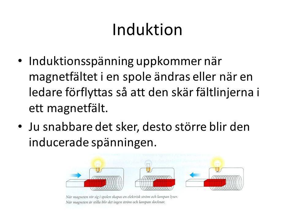 Induktion • Induktionsspänning uppkommer när magnetfältet i en spole ändras eller när en ledare förflyttas så att den skär fältlinjerna i ett magnetfält.
