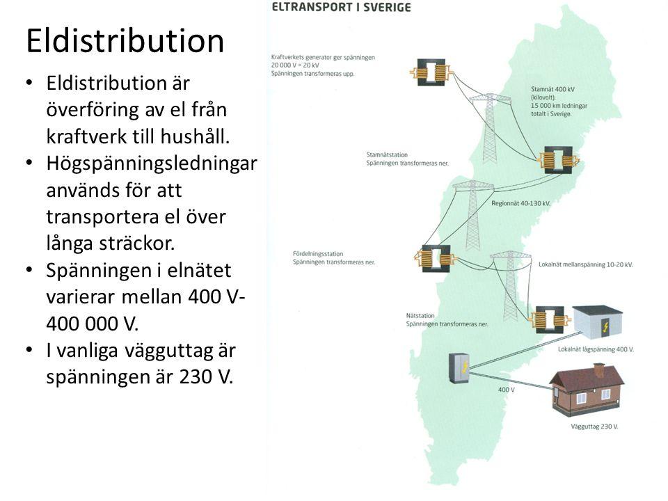 Eldistribution • Eldistribution är överföring av el från kraftverk till hushåll.