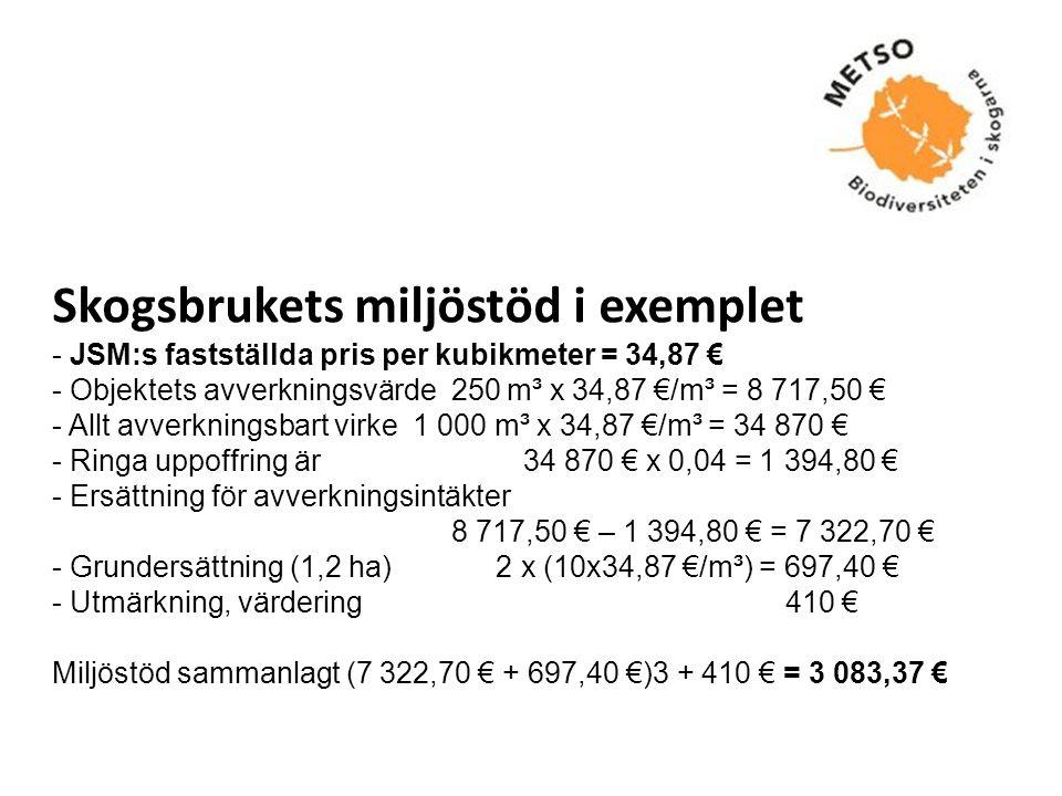 Skogsbrukets miljöstöd i exemplet - JSM:s fastställda pris per kubikmeter = 34,87 € - Objektets avverkningsvärde 250 m³ x 34,87 €/m³ = 8 717,50 € - Allt avverkningsbart virke 1 000 m³ x 34,87 €/m³ = 34 870 € - Ringa uppoffring är 34 870 € x 0,04 = 1 394,80 € - Ersättning för avverkningsintäkter 8 717,50 € – 1 394,80 € = 7 322,70 € - Grundersättning (1,2 ha) 2 x (10x34,87 €/m³) = 697,40 € - Utmärkning, värdering 410 € Miljöstöd sammanlagt (7 322,70 € + 697,40 €)3 + 410 € = 3 083,37 €