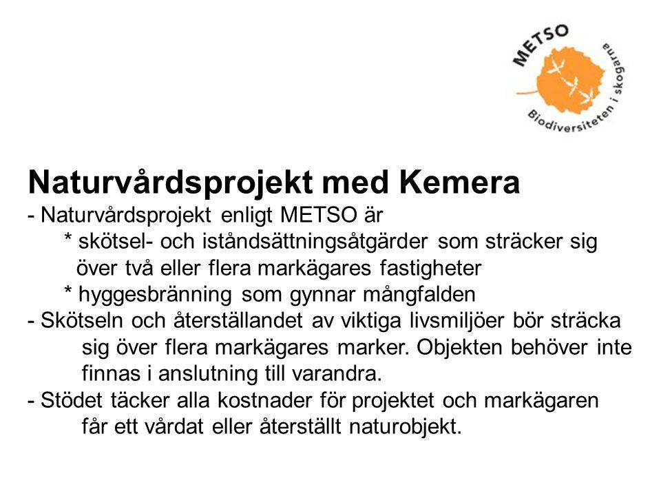 Naturvårdsprojekt med Kemera - Naturvårdsprojekt enligt METSO är * skötsel- och iståndsättningsåtgärder som sträcker sig över två eller flera markägares fastigheter * hyggesbränning som gynnar mångfalden - Skötseln och återställandet av viktiga livsmiljöer bör sträcka sig över flera markägares marker.