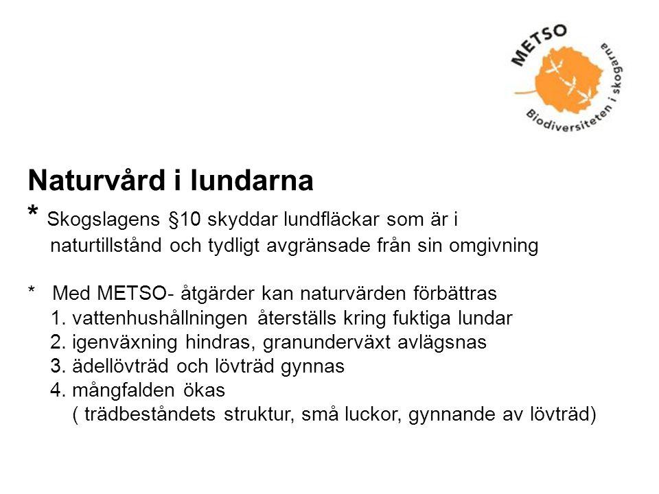 Naturvård i lundarna * Skogslagens §10 skyddar lundfläckar som är i naturtillstånd och tydligt avgränsade från sin omgivning * Med METSO- åtgärder kan naturvärden förbättras 1.