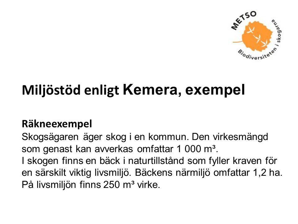 Miljöstöd enligt Kemera, exempel Räkneexempel Skogsägaren äger skog i en kommun.