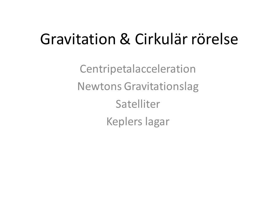 Gravitation & Cirkulär rörelse Centripetalacceleration Newtons Gravitationslag Satelliter Keplers lagar