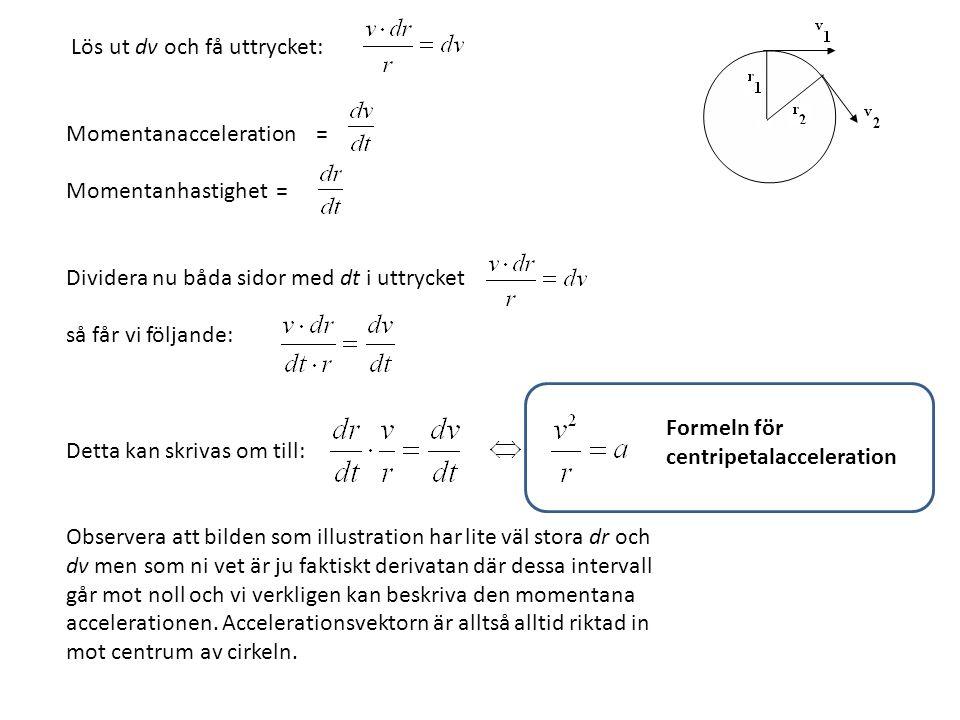 Centripetalacceleration & Centripetalkraft Formeln för Centripetalacceleration är härledd och multipliceras denna med massan får vi ett uttryck för Centripetalkraft.