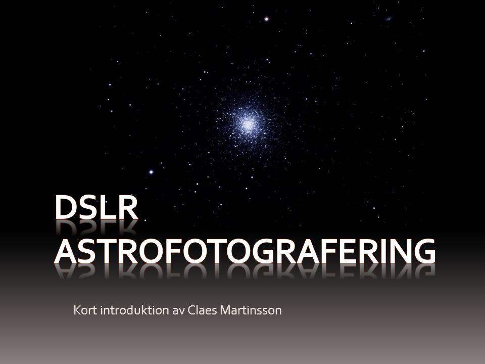 Rekommenderad utrustning  Foto teleskop med bra montering  Helst ett snabbt teleskop (f5 –f8)  Montering med ST-4 guide port eller ASCOM  Flip-mirror  Guide kamera och teleskop (halva brännvidden)  Starshoot Autoguider, Meade LPI/DSI, Web kamera  Astrofoto kamera (DSLR eller CCD)  PC med mjukvara för autoguide och foto.