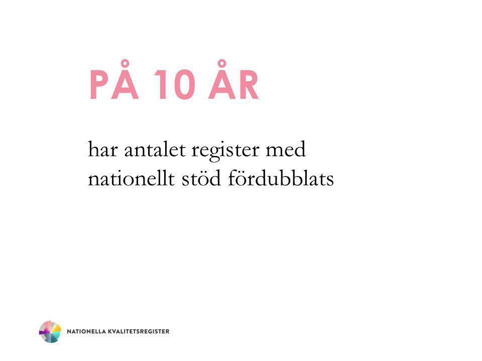 PÅ 10 ÅR har antalet register med nationellt stöd fördubblats