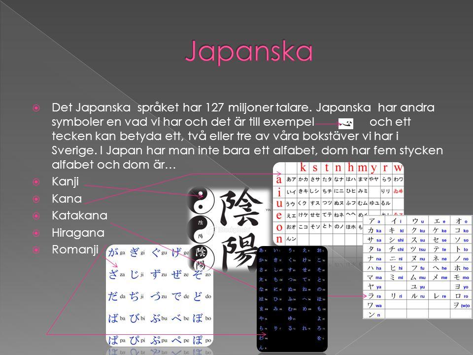  Det Japanska språket har 127 miljoner talare. Japanska har andra symboler en vad vi har och det är till exempel och ett tecken kan betyda ett, två e