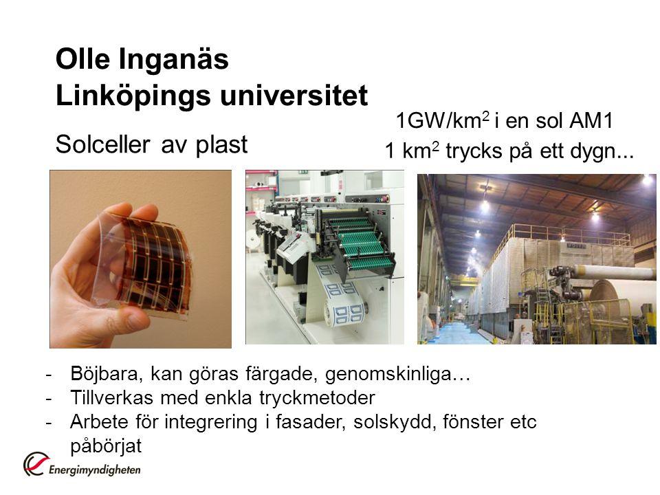 Olle Inganäs Linköpings universitet Solceller av plast -Böjbara, kan göras färgade, genomskinliga… -Tillverkas med enkla tryckmetoder -Arbete för inte