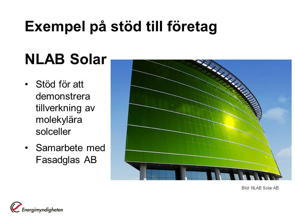 Exempel på stöd till företag NLAB Solar •Stöd för att demonstrera tillverkning av molekylära solceller •Samarbete med Fasadglas AB Bild: NLAB Solar AB