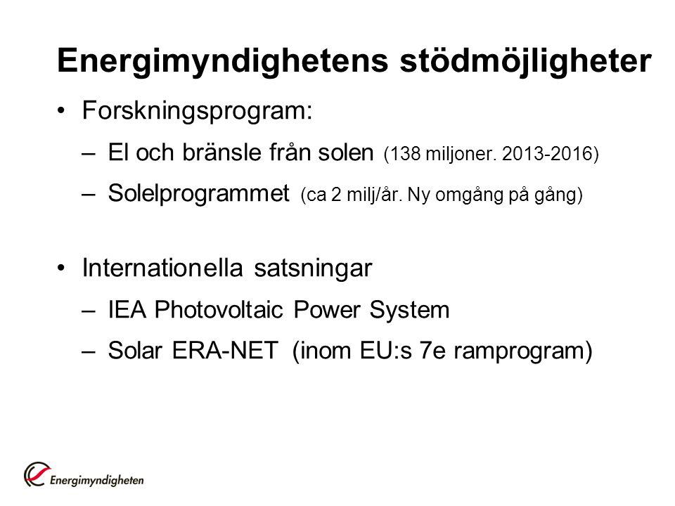Energimyndighetens stödmöjligheter •Forskningsprogram: –El och bränsle från solen (138 miljoner. 2013-2016) –Solelprogrammet (ca 2 milj/år. Ny omgång