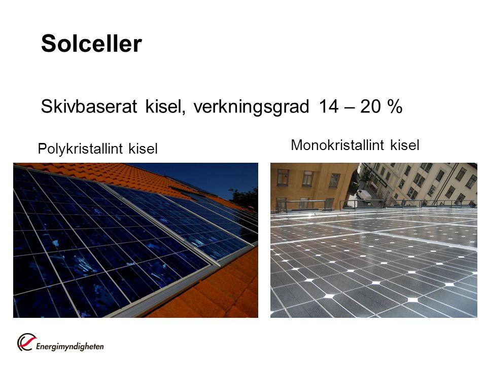 Solceller Skivbaserat kisel, verkningsgrad 14 – 20 % Polykristallint kisel Monokristallint kisel