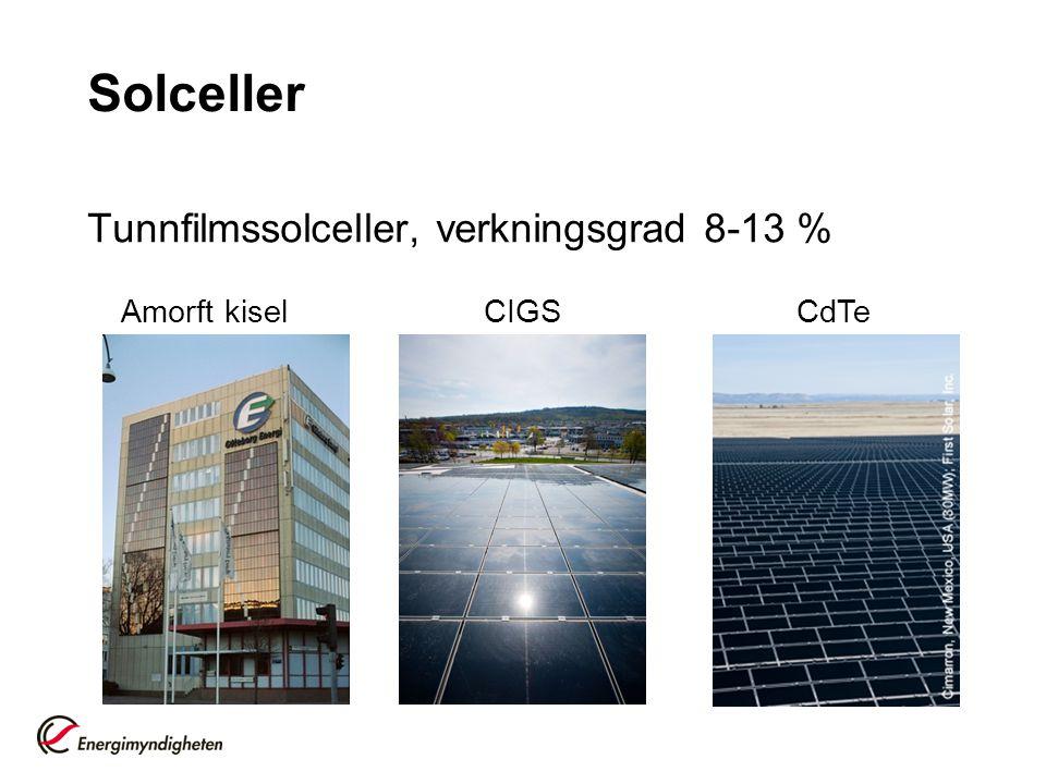 Solceller Tunnfilmssolceller, verkningsgrad 8-13 % Amorft kisel CIGS CdTe