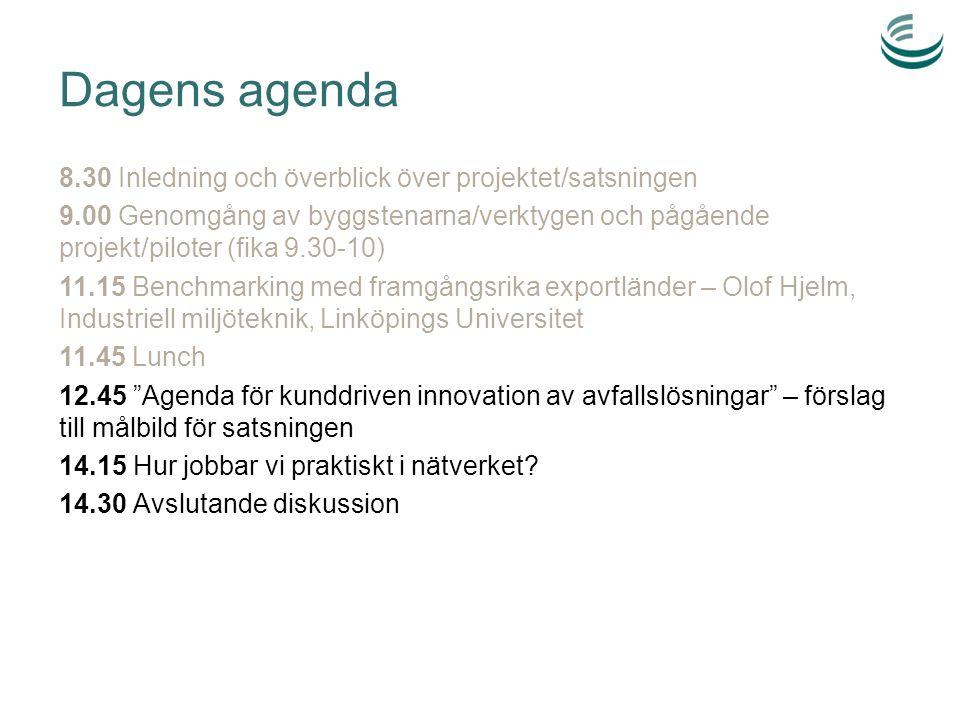 Dagens agenda 8.30 Inledning och överblick över projektet/satsningen 9.00 Genomgång av byggstenarna/verktygen och pågående projekt/piloter (fika 9.30-