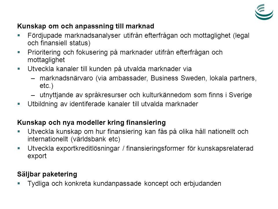 Kunskap om och anpassning till marknad  Fördjupade marknadsanalyser utifrån efterfrågan och mottaglighet (legal och finansiell status)  Prioritering