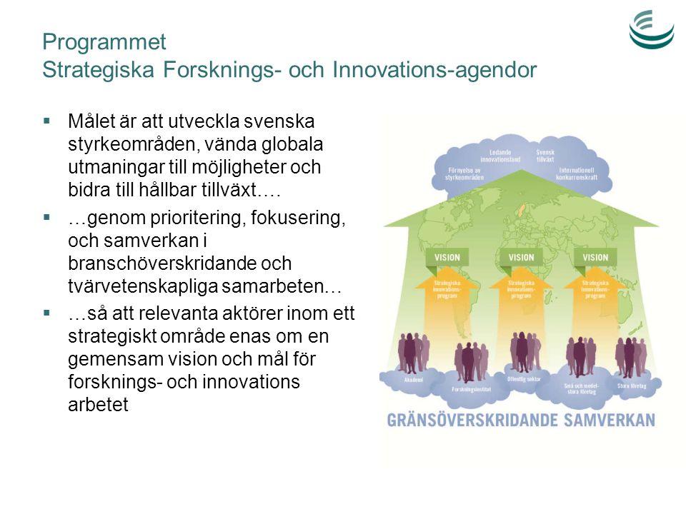 Programmet Strategiska Forsknings- och Innovations-agendor  Målet är att utveckla svenska styrkeområden, vända globala utmaningar till möjligheter oc