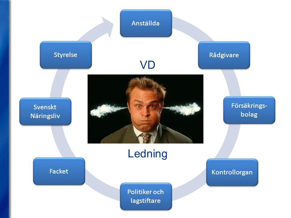 Anställda VD Ledning Svenskt Näringsliv Facket Kontrollorgan Politiker och lagstiftare Styrelse Rådgivare Försäkrings- bolag