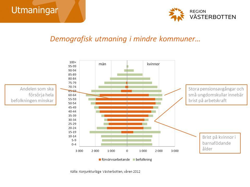 Demografisk utmaning i mindre kommuner… Utmaningar Andelen som ska försörja hela befolkningen minskar Stora pensionsavgångar och små ungdomskullar inn